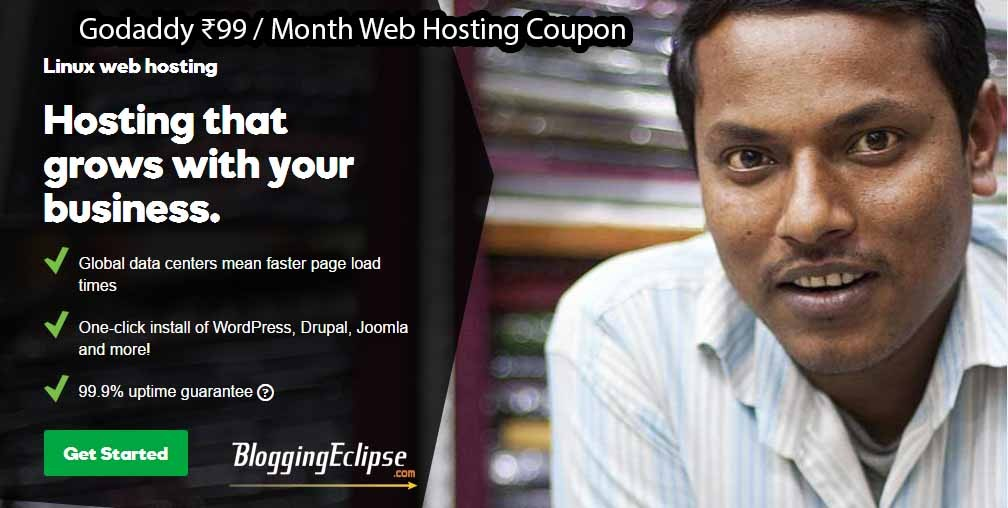 Godaddy ₹99 month web hosting coupon