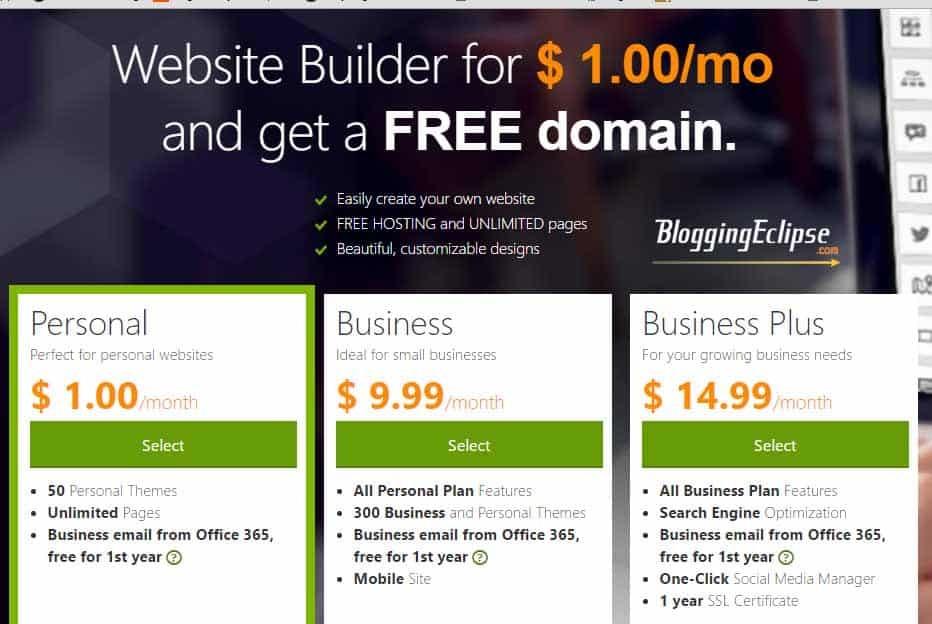 Godaddy Website Builder plans