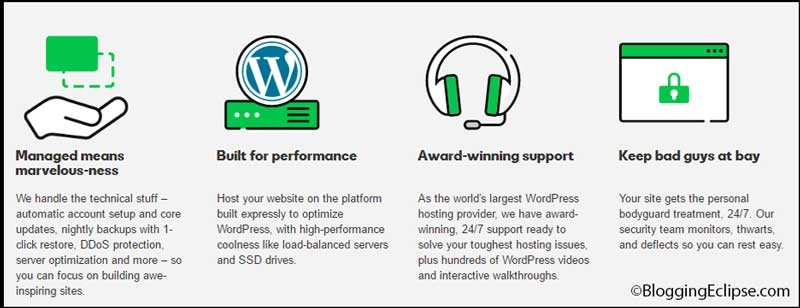 Godaddy managed WordPress hosting features