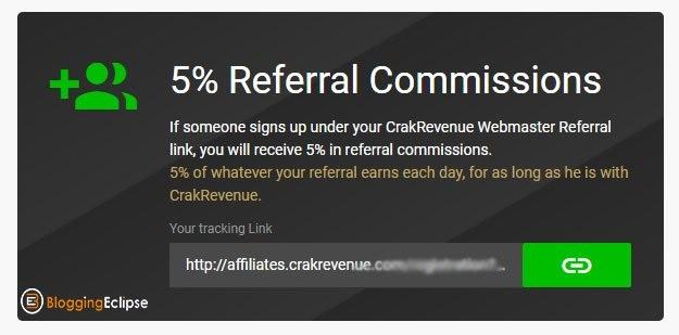 Crakrevenue-Referrals commission