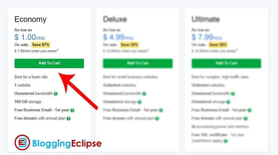 GoDaddy-$1-Economy-Hosting-purchase-steps