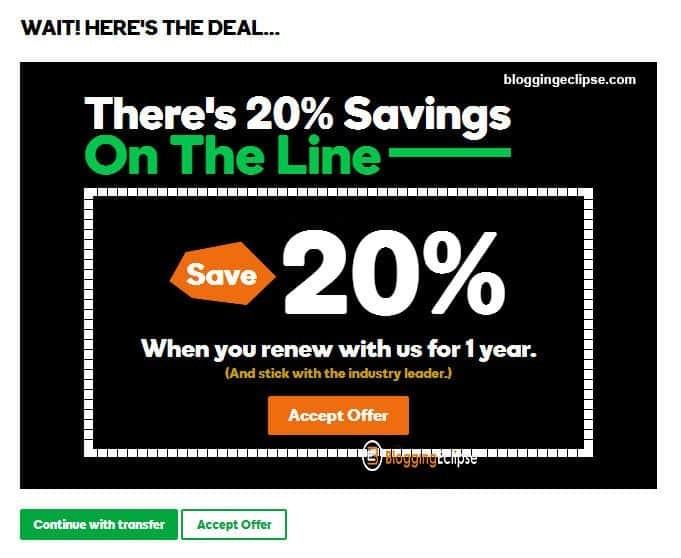 20% OFF GoDaddy Renewal coupon