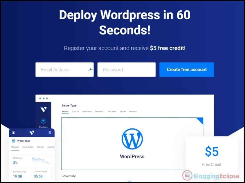 Vultr one click WordPress install