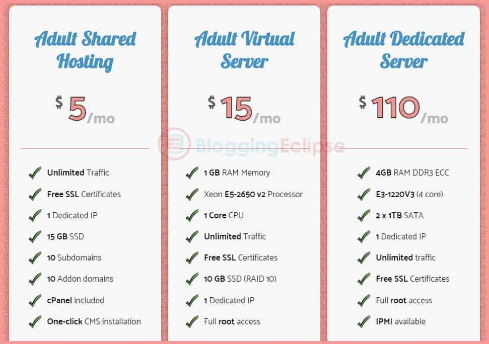 Vicetemple adult shared hosting pricing