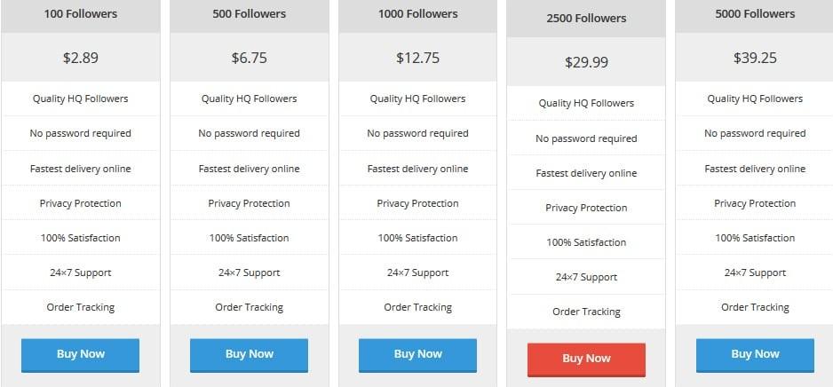 Instaboostgram Pricing