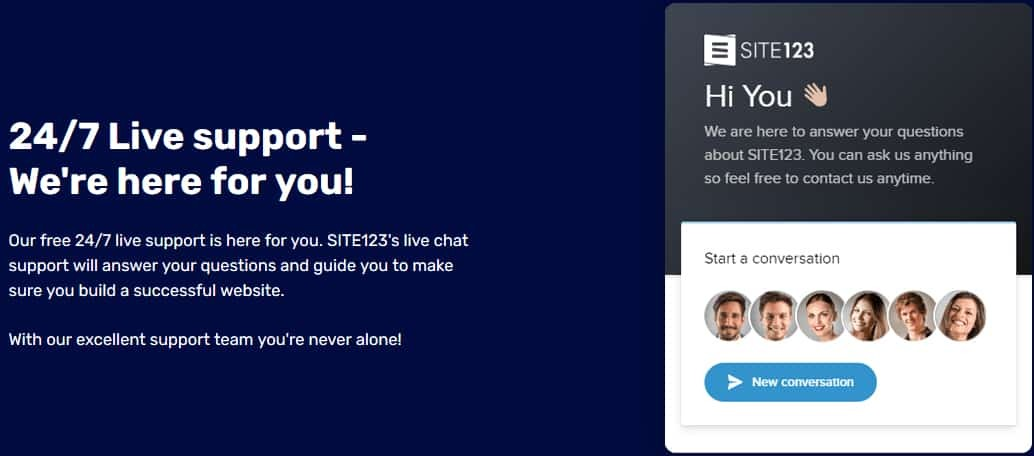 Customer Support of SITE123