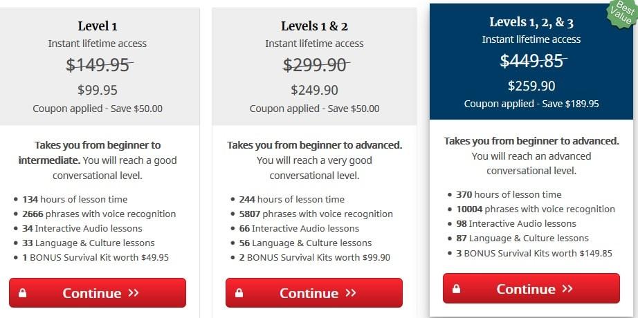 Rocket Languages Pricing Plans