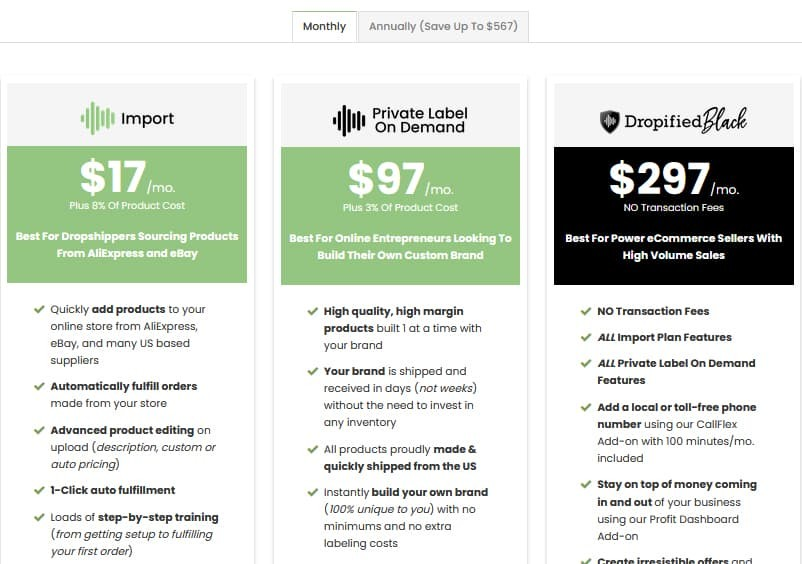 Dropified Pricing