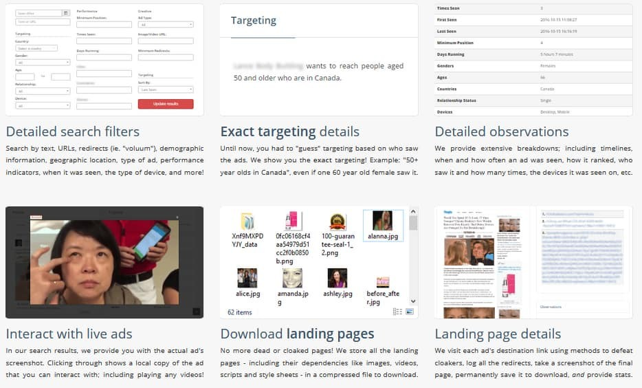 Features of Social Ad Scout