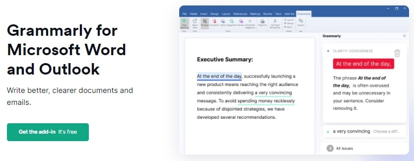 Grammarly Microsoft Tool Add-on Extension