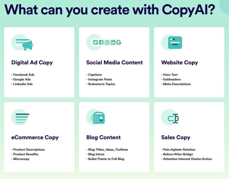 Copy.ai Features